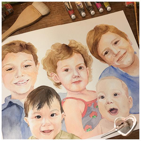 Retrato em aquarela da artista Renata Pontes. Faça sua reserva. Watercolor portrait by the artist Renata Pontes. Comission art.